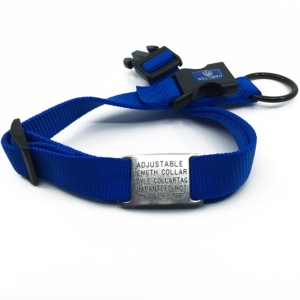 blue adjustable length color with stainless steel collar tag id for pets