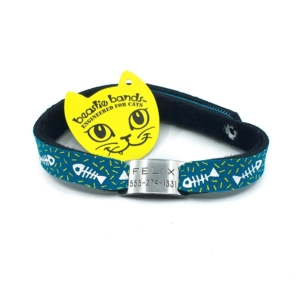 green fish bones black beastie band cat safety collar combo