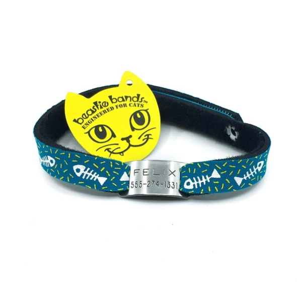 green fish bones black beastie band cat safety collar combo