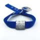 blue double thick nylon collar with stainless steel slide on style collar tag