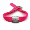pink double thick nylon collar with stainless steel slide on style collar tag