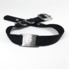 black single thick nylon collar with stainless steel collar tag id for pets