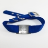 blue single thick nylon collar with stainless steel collar tag id for pets