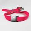 pink single thick nylon collar with stainless steel collar tag id for pets