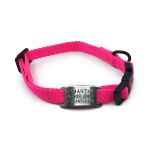 pink mini collar adjustable style with stainless steel collar tag id for pets