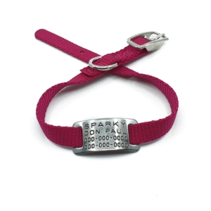 red pet collar with collar tag id for pets