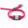 pink pet collar with collar tag id for pets